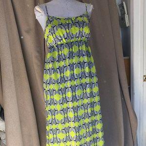 Vince Camuto lime Zebra geometric maxi dress S